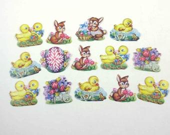 Vintage 1950s Easter Gummed Seals Stickers or Labels Set of 14 Lot B