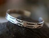 Sterling Silver Cuff Bracelet, Hand Stamped Design