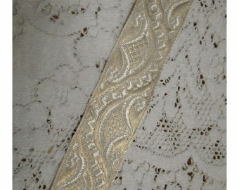 Marie's Fainting Couch - French Regency Woven Jacquard Ribbon Trim - Pale METALLIC GOLD and IVORY