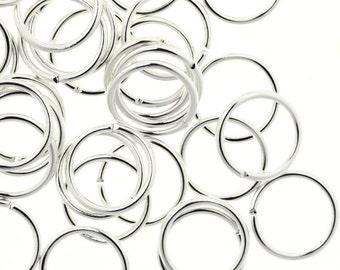 Jump Ring Silver 10mm 18ga Plated Jump Rings (50) FI856