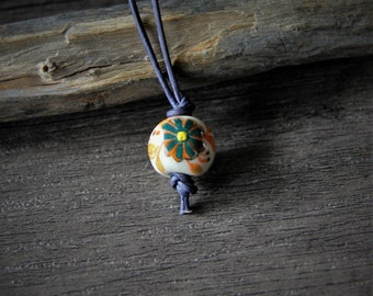 Porcelain flowers bead pendant - by Fanny Dallaire -