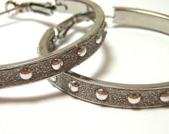 Silver Leather Studded Hoops - Metallic gray faux leather wrapped hoops with silver circular studs - Nickel free hoop earrings