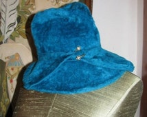 HUGE SALE Funky Hat bejeweled Vintage 1970's Musketeer Fleece Hat, Pimp Daddy Hat, Teal Blue retro Winter Fashionista Holiday Party Dance Bl