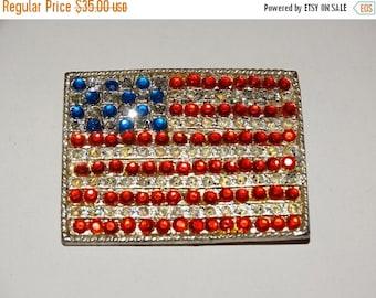 Sale Retro 70's Rhinestone USA Flag Pin, Vintage 1970's Jewelry Brooch Old Glory Rhinestones God Bless America Patriotic Americana Patriot L
