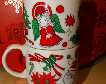 Sale Angel Porcelain Coffee Mugs, Hot Cocoa Mugs, Porcelain Made in Japan, Santa, Kris Kringle Cup, Poinsettia Flower