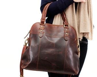 Large Brown Leather Handbag Bag Purse