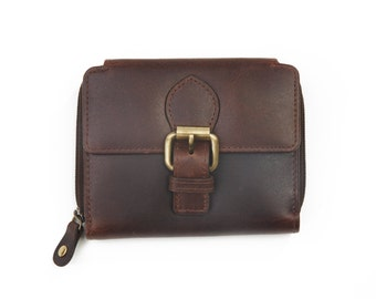 Ladies Leather Ziparound Buckle Wallet,  Antique Brown
