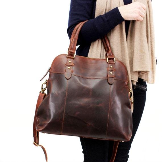 Tassen Dames Louis Vuitton : Large brown leather handbag bag purse