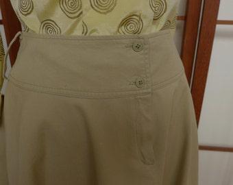 Vintage 80s Kenzo Khaki Maxi Flared Skirt