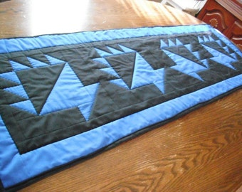 Quilted Amish Style Table Runner - Baskets - Blue and Black