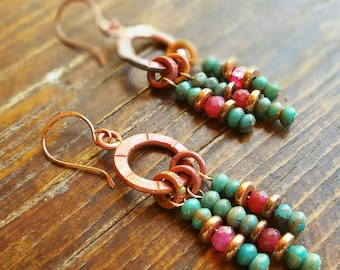 COPPER and Turquoise Earrings - Beaded - Ruby Zoisite - Rustic Earrings - Cowgirl Jewelry - Boho - Western Jewelry