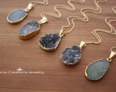 Free Form Druzy Necklace- Gold Filled ( 10 available colors)