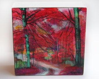 Autumn Beeches, 4x4 inches and 1 1/2 inches deep, wood block mounted, Original art, art, Gina Signore, #red decor #tree art