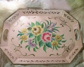 vintage shabby pink metal tole painted tray, romantic cottage pink roses, original painted finish, large, serving, wall decor, centerpiece