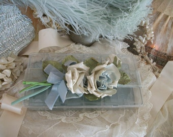 vintage box with softly timeworn faded velvet roses & ribbon, pale silvery grey-blue, french nordic, shabby romantic cottage chic elegance