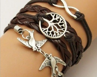 Tree of Life Bracelet Peace Doves Leather Cuff Bracelet   jewelry  womens  girls kids