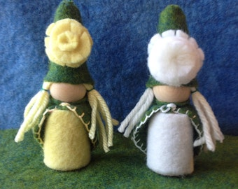 Meet Dandelion and Wish Flower the Flower Waldorf Gnomes Gnome Peg People