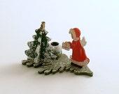 Vintage Wood Angel Candle Holder Christmas Decoration Candleholder Germany