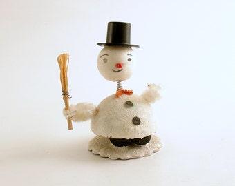 Vintage Snowman Christmas Decoration Bobble Head Nodder