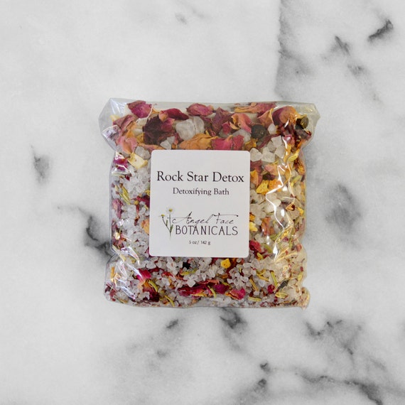 Rock Star Detox - Detoxifying Bath - Rustic Herbs & Sea Mineral Salt Soak 5 oz - Organic Bath Salts by Angel Face Botanicals