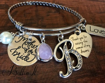 Mother of the BRIDE bracelet, Mother of the Groom gift, Mom gift from groom, wedding keepsake, Thank you for raising the man of my dreams