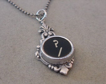 Typewriter Key Necklace BLACK QUESTION MARK  Typewriter Key Pendant Necklace Typewriter Jewelry