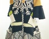 ON SALE Sweater Coat, Upcycled Black & Yellow Sweater Coat, Large, (12-14-16)