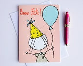 Bonne Fete - Happy Birthday - Greeting Card - illustration - 5x7""