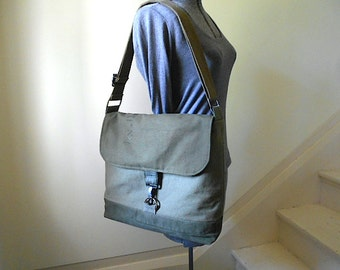 "Military canvas lg messenger cross body, 13"" laptop, book bag - eco vintage fabrics"