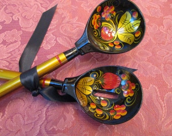 VINTAGE - Russian Lacquer Salad Spoons
