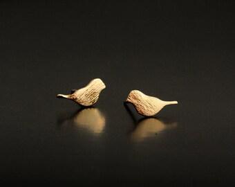 Bird Golden Stud Earring Post Finding (EX048C)