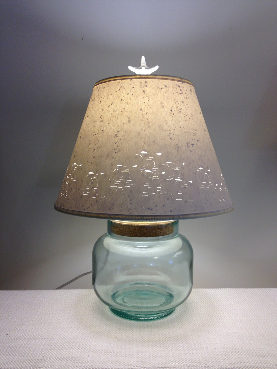 fillable recycled glass lamp base with shorebirds. Black Bedroom Furniture Sets. Home Design Ideas