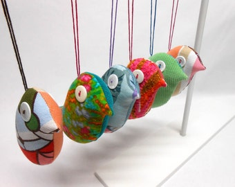 Bird Ornaments Decorative Home Decor Accent Flock of 6 Fabric Birds