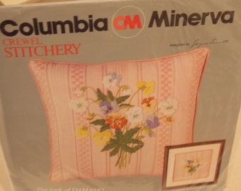 Crewel Stitchery Pansies Damask look Complete Kit Picture or Pillow Pink
