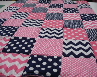 Chevron and Dots in Navy and Hot Pink Minky Patchwork Blanket You Choose Size MADE TO ORDER No Batting