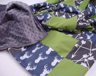 Deer Head Navy and Lime Patchwork Minky Blanket You Choose Size and Minky Color MADE TO ORDER No Batting