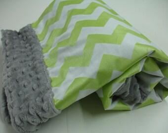 Metallic Lime Chevron Minky Blanket 29 x 31 READY TO SHIP