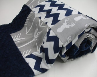 Gray Deer Head and Arrows with Navy Chevron Minky Blanket You Choose Size and Minky Color MADE TO ORDER No Batting