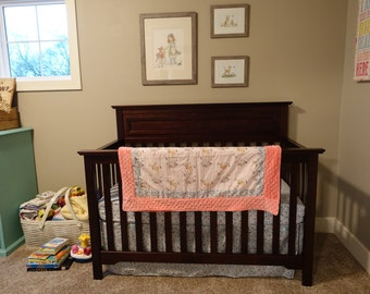 Fawn in Winter Gray Aqua and Coral 3 Piece Blanket and Baby Crib Set Bedding  MADE TO ORDER