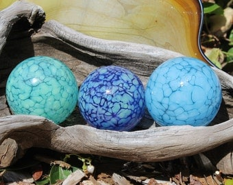 Set of 3 Colorful Hand Blown Glass Floats, Garden Balls, Gazing Orbs In Cool Shades of Blue