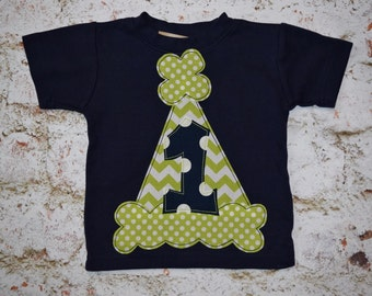 Boys Custom Birthday T-shirt with number or initial   SIZES  12, 18, 24mth, 2T, 4, 6  navy blue lime green white