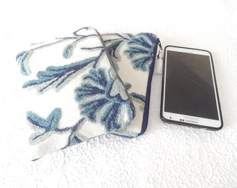 Blue crewel embroidery pouches, wool floral clutch, bridal gifts,  makeup bag, cosmetic pouch, purse organizer, only DENIM back available