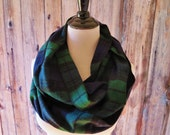 Black Watch Plaid Scarf - Infinity Scarf - Navy Plaid Scarf - Scarf - Flannel Scarf - Plaid Scarf - Circle Scarf - Hunter Plaid