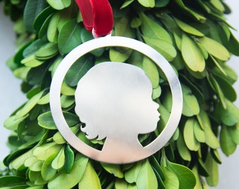 CUSTOM Silhouette Ornament - Single Head, Baby's 1st Christmas, Laser Cut in Sterling Silver of Brass - by Le Papier Studio