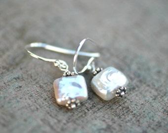 White Square Freshwater Pearl Sterling Silver Earrings, Pearl Jewelry, June Birthstone Earrings, White Pearl Earrings, Modern Earrings