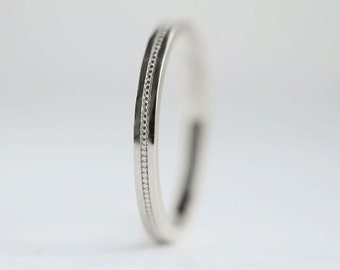 Flat Milgrain 2mm Platinum Wedding Band | Flat Edge Women's Platinum Ring 2mm x 1.5mm thick | sustainable recycled platinum