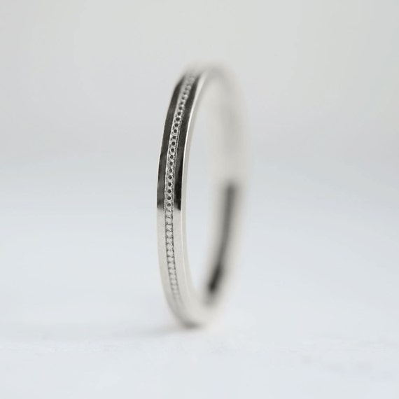 Platinum Double Milgrain 6mm Wide Flat Wedding Band Ring: Flat Milgrain 2mm Platinum Wedding Band Flat Edge