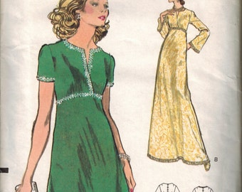 1970s Vogue 8679 Retro Mod Dress Sewing Pattern Vintage Size 12 Evening Gown UNCUT