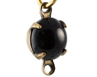 Vintage Black Glass Stone Brass 2 Loop Brass Ox Setting Drops rnd007F2