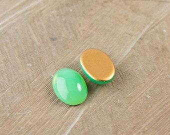 Green Glass Opal Oval Cabochon 18X13mm (2) cab440X